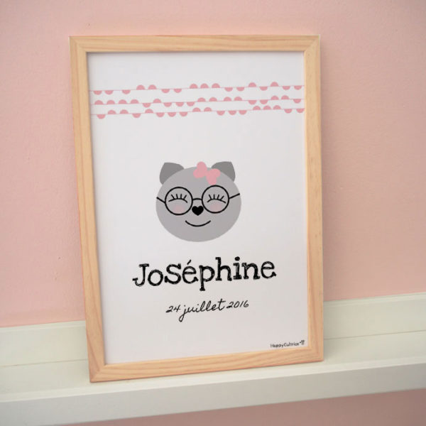 chat chaton lunettes dessin mignon affiche enfant naissance prénom personnalisée personnalisable