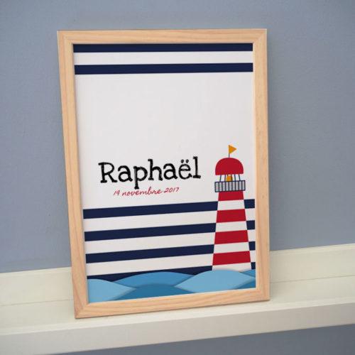 affiche cadre poster personnalisé prénom bord de mer phare breton océan marin marinière date naissance