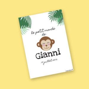 affiche personnalisée jungle cadeau invité baptème gianni anniversaire