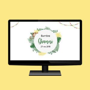 fond d'écran personnalisé jungle cadeau invité baptème gianni anniversaire