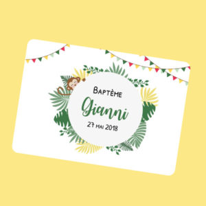 invitation anniversaire bapteme 1 an 2 an garçon bébé gianni jungle singe fanions vert jaune
