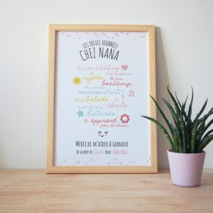 affiche cadeau nounou original personnalisée rose