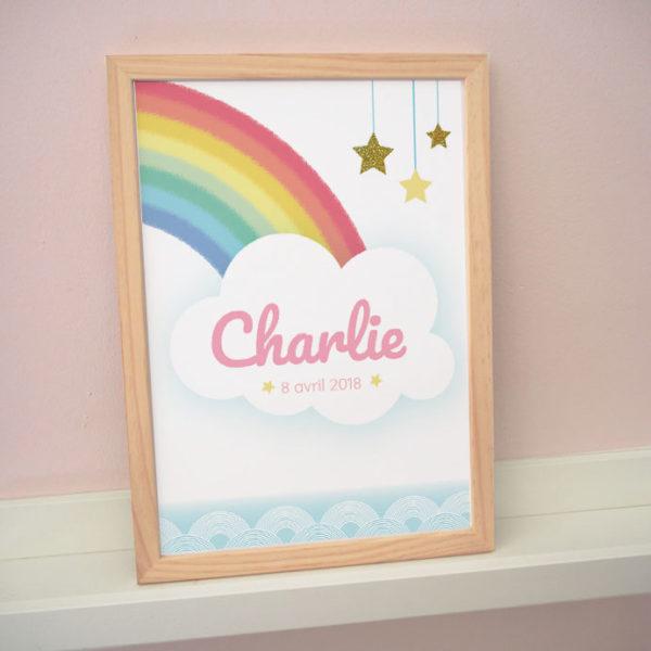 poster affiche cadre enfant bébé charlie arc-en-ciel arc en ciel rainbow étoiles stars nuage paillettes