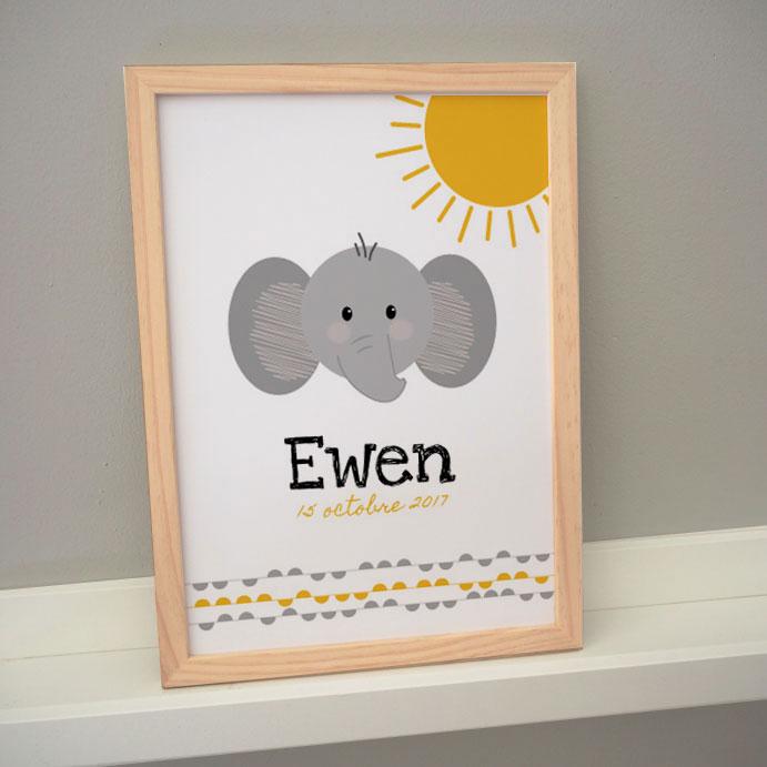 affiche cadre poster personnalisé prénom éléphant ewen date naissance