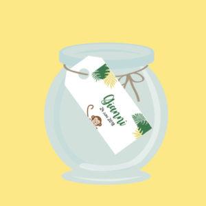 étiquettes dragées marque place cadeau invités personnalisé jungle cadeau invité baptème gianni anniversaire