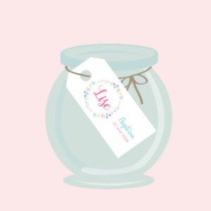 kit festif affiche printemps lise floral fleurs flowers pink blue yellow rose jaune bleu baptème anniversaire imprimable invitation marque-place étiquettes dragées