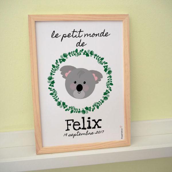 afficke poster koala enfant prénom personnalisé foret le petit monde de felix