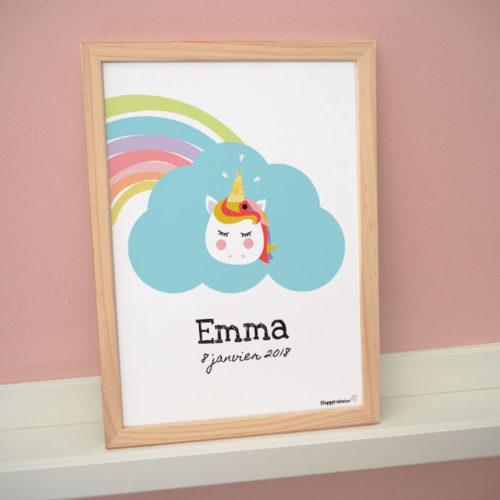 poster affiche cadre enfant bébé licorne arc en ciel couleurs nuage pastel emma date naissance