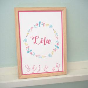poster affiche cadre enfant bébé alice printemps fleur vert menthe rose jaune oiseau nature lola fleur rose jaune bleu
