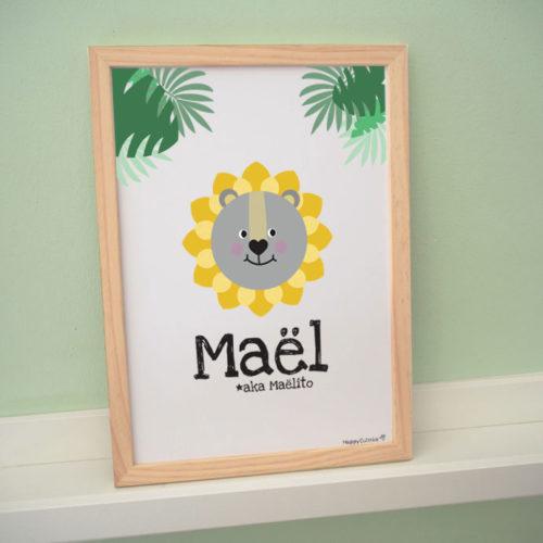affiche poster lion personnalisé prénom maël jungle cadre