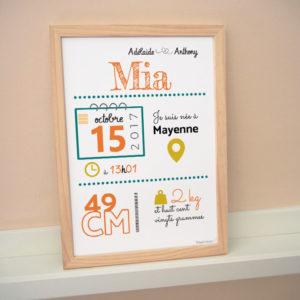 cadre bébé enfant naissance taille poids date heure parents affiche poster taille poids heure date parents couleurs personnalisées mia orange vert jaune