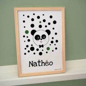 affiche poster cadre personnalisé enfant prénom chambre koala vert nathéo