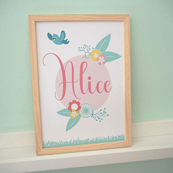 poster affiche cadre enfant bébé alice printemps fleur vert menthe rose jaune oiseau nature