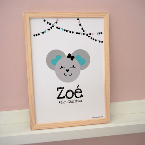 affiche cadre poster personnalisé prénom souris zoé