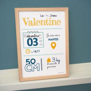 cadre bébé enfant naissance taille poids date heure parents affiche poster taille poids heure date parents couleurs personnalisées valentine jaune bleu vert