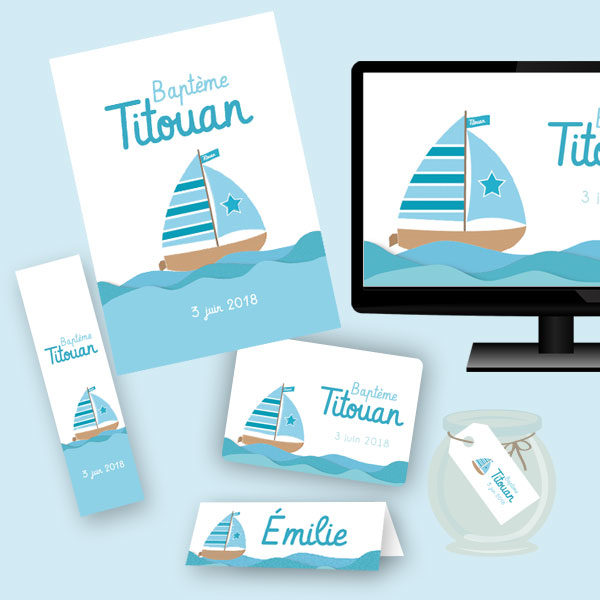 papeterie kit festif affiche bateau baptème anniversaire imprimable invitation marque-place étiquettes dragées Titouan kit complet