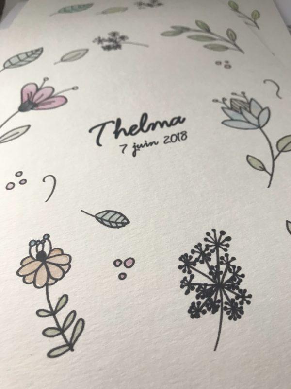 addiqhe perosnnalisée prénom date florale aquarelle fleurs roses feuilles