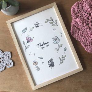 affiche aquarelle personnalisée florale