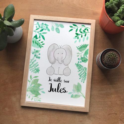 affiche personnalisées éléphant aquarelle
