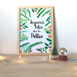 Affiche de Noel décoration personnalisée cadre famille