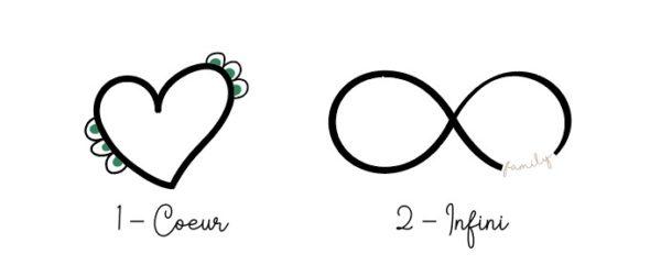 Coeur vs infini motif affiche personnalisée famille prénom dates