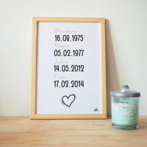 affiche famille personnalisée prénoms dates coeur illustration couleurs