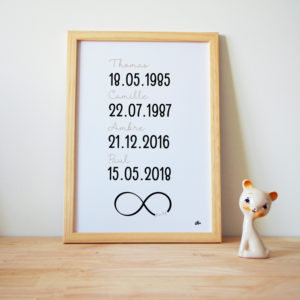 Affiche personnalisée famille bois beige prénom dates hello bonheur
