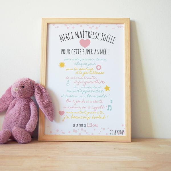 cadre affiche maitresse personnalisé texte couleurs pastel