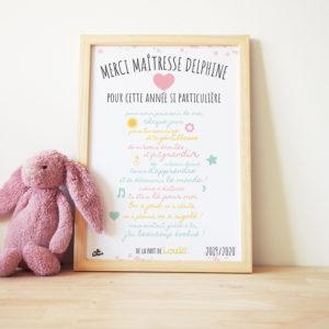 affiche au texte personnaliséidée cadeau original maitresse fin d'année scolaire maître affiche classe