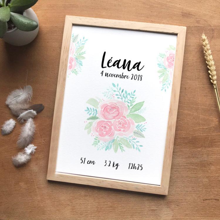 cadre naissance fleurs aquarelle rose