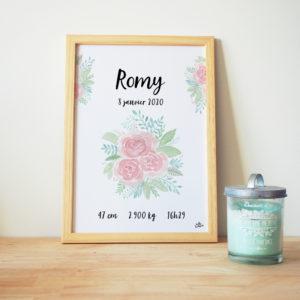 Tableau naissance bébé aquarelle rose