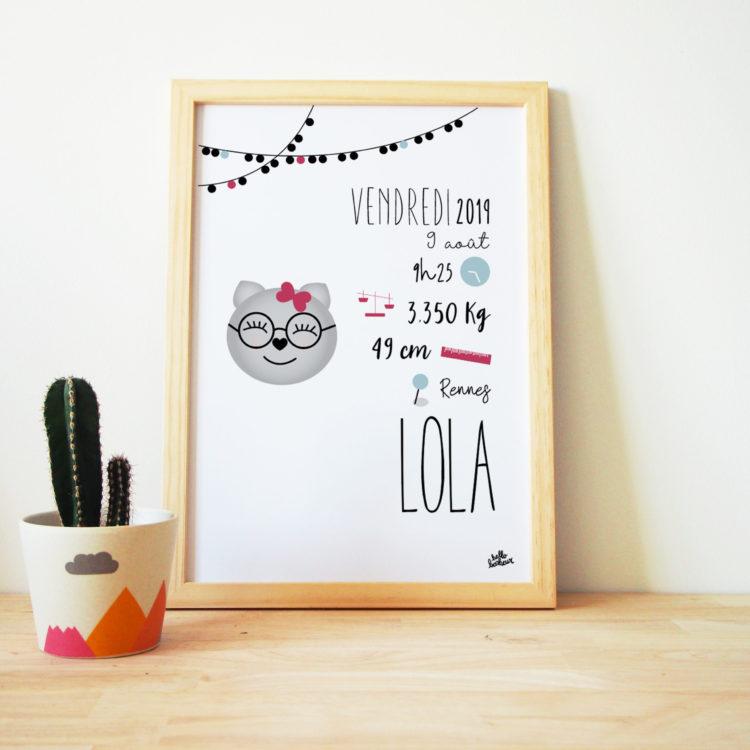 Idée cadeau originale bébé affiche naissance personnalisée couleurs et textes chat décoration chambre bébé souvenir