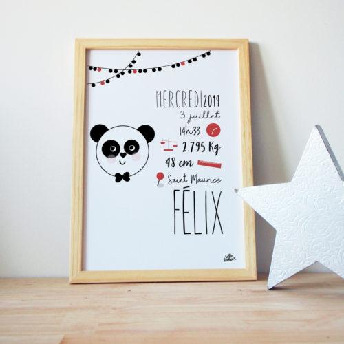 Cadre naissance perosnnalisée couleurs panda graphisme sympa