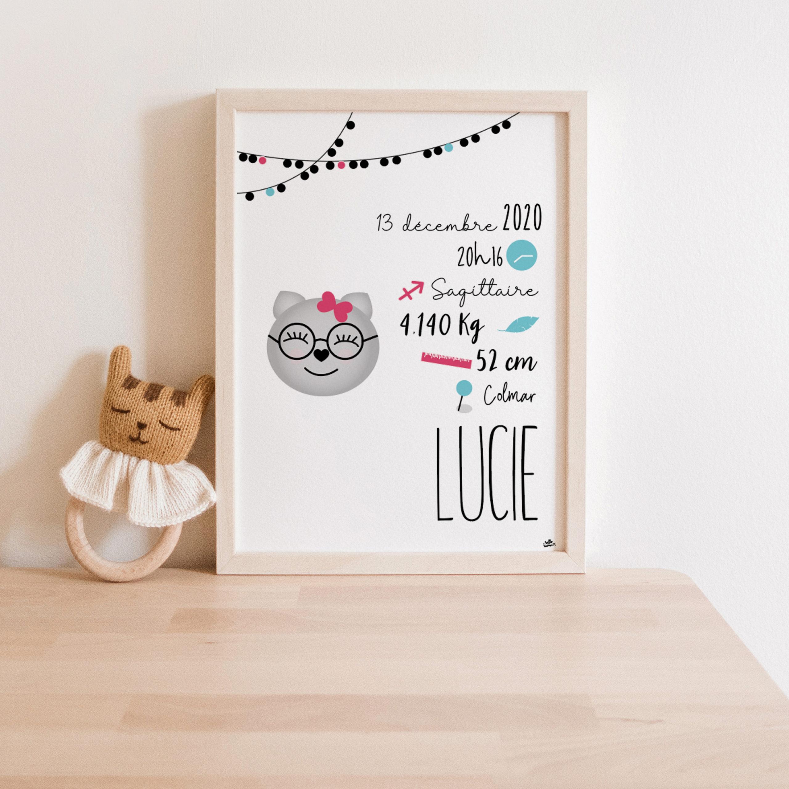 Affiche naissance chaton chat mignon