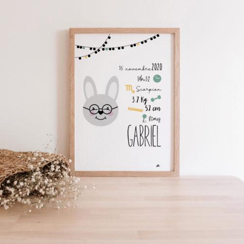 Affiche naissance lapin