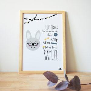 affiche naissance lapin personnalisée couleur texte hello bonheur