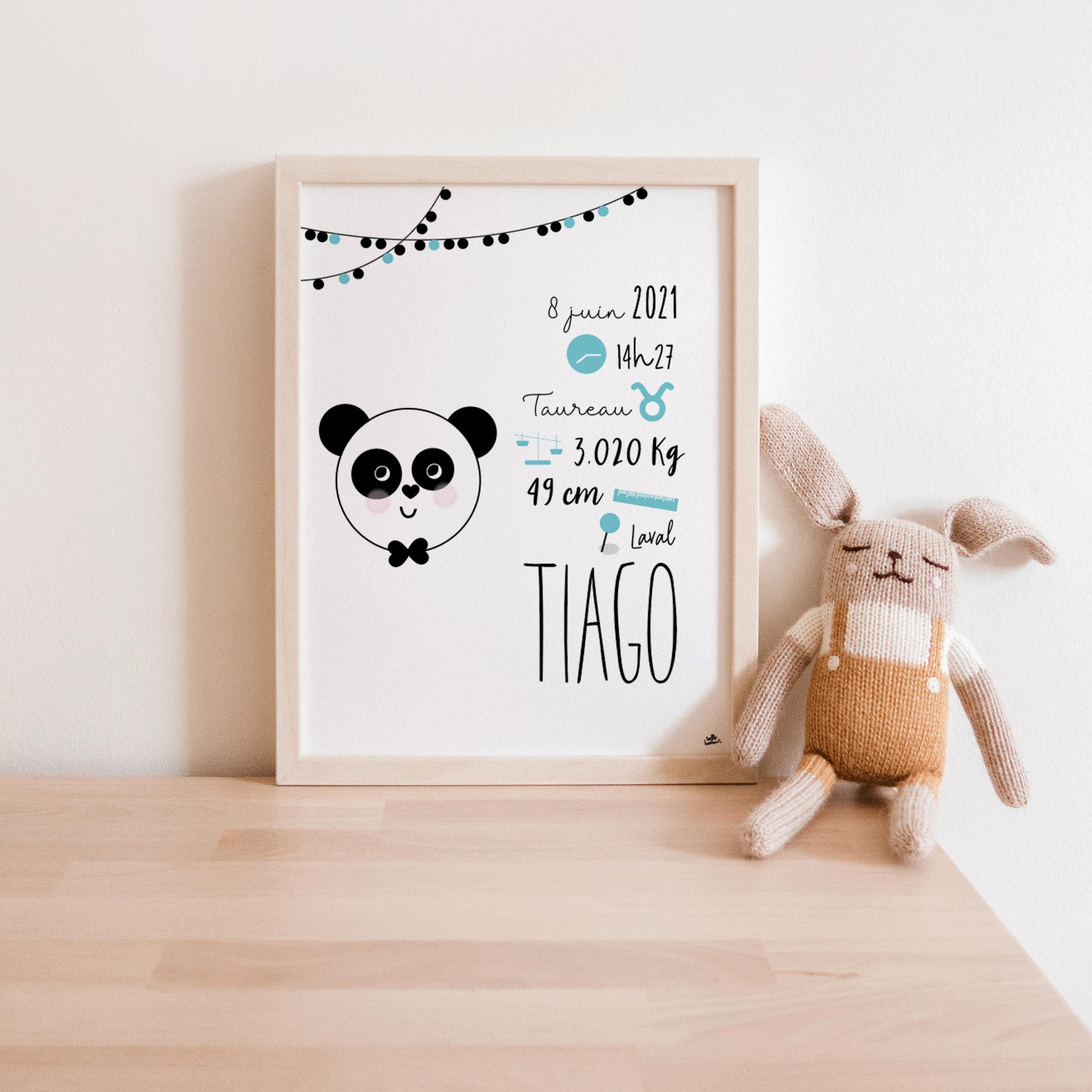 Affiche naissance panda cute