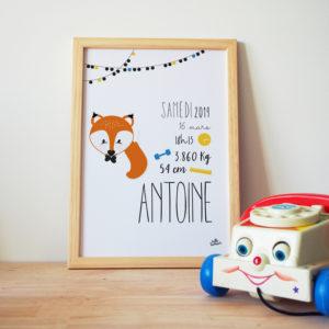 idée cadeau bébé naissance affiche personnalisée prénom