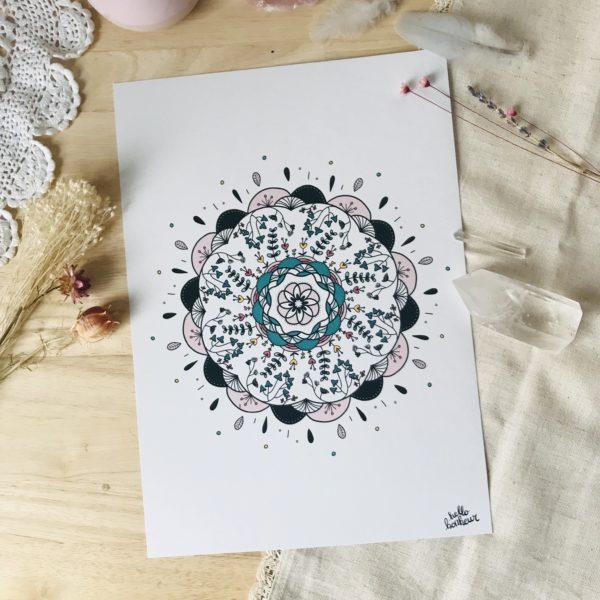 affiche mandala intuitif nature et amour