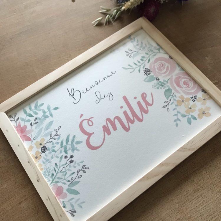 cadre aquarelle peinture fleurs flowers watercolor name personnalisé bienvenue chez nous famille