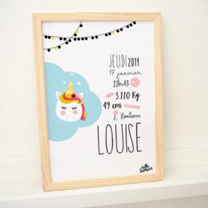 affiche cadre naissance licorne bébé baby cadeau de naissance original