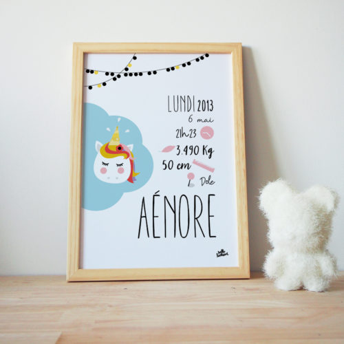 Affiche naissance licorne personnalisée couleurs et texte