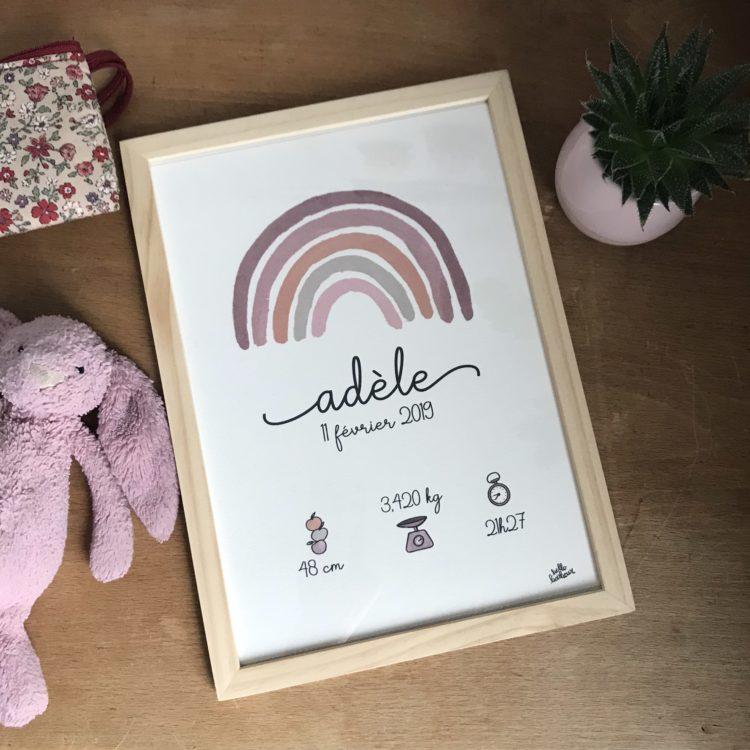 affiche naissance cadre bébé arc-en-ciel aquarelle