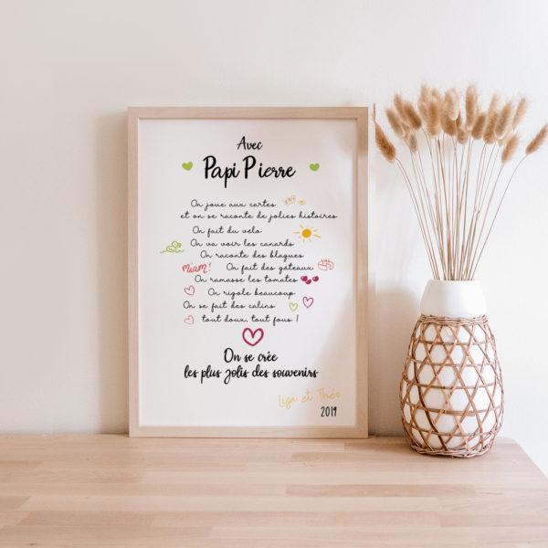 Affiche Cadeau Papi Papy Fêtes des grands mères - idées cadeau originale et personnalisée Cadre personnalisé Papi