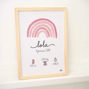 affiche naissance cadre bébé lola arc-en-ciel rose personnalisé faire-part joli hello bonheur