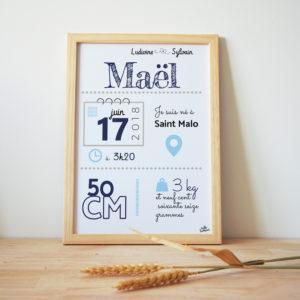 Mael affiche naissance bleu personnalisé hello bonheur cadre naissance