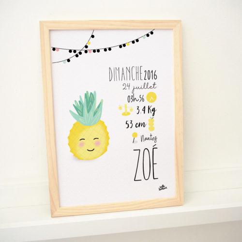 cadre affiche naissance personnalisée cadeau ananas