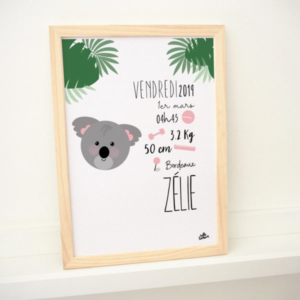 cadeau naissance affiche koala