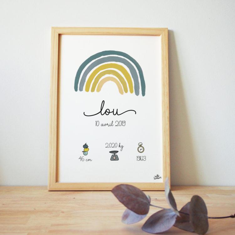 affiche personnalisée bébé arcenciel arc-en-ciel jaune et vert green forest rainbow birth poster