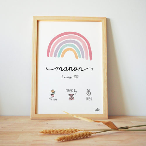 Affiche de naissance personnalisée arc-en-ciel pastel